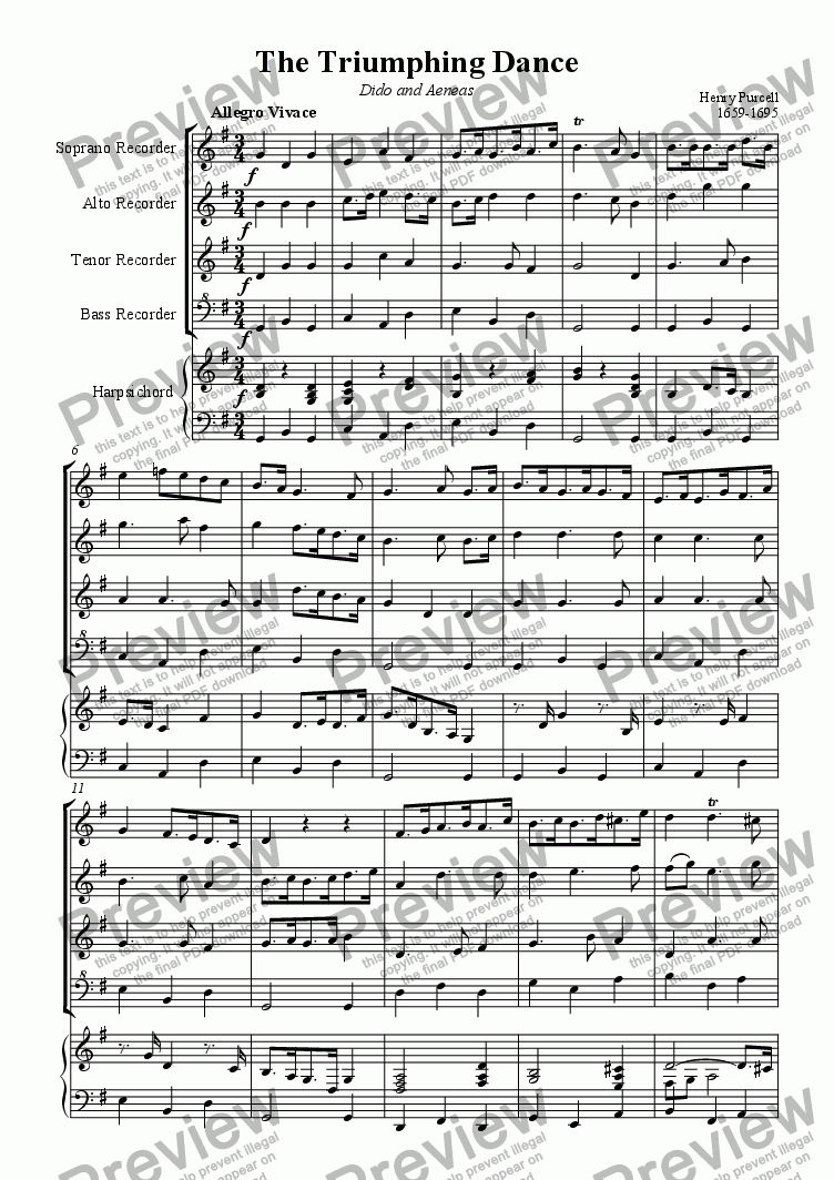page one of The Triumphing Dance (Purcell)