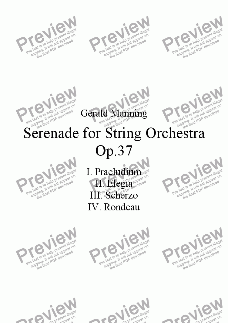 page one of Serenade for String Orchestra, Op.37 by Gerald ManningASALTTEXT