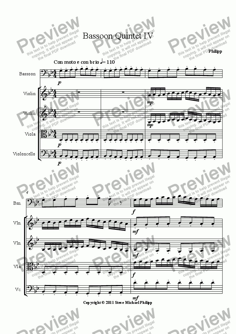 page one of Bassoon Quintet Movement IV