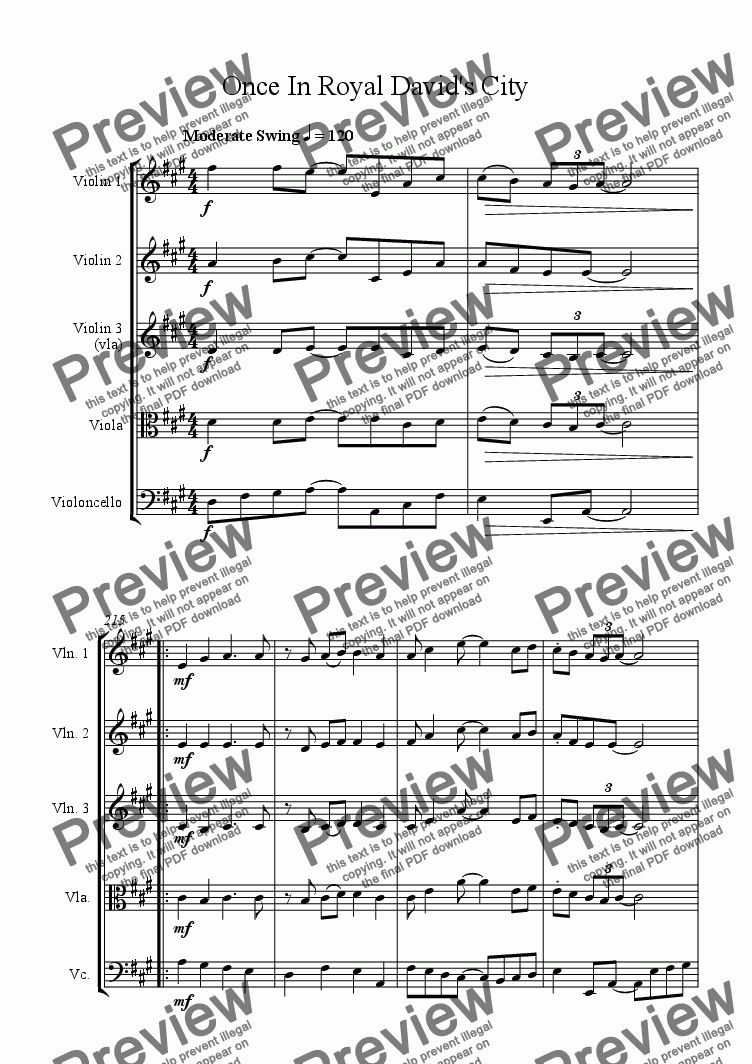 page one of Once in Royal David's City - Jazz Carol for String QuartetASALTTEXT