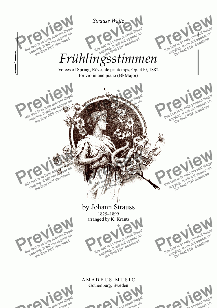 page one of Frühlingsstimmen / Voices of Spring for violin and pianoASALTTEXT
