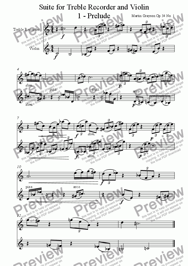 page one of Op. 34 No. 1 - Suite for Treble Recorder and Violin  ASALTTEXT