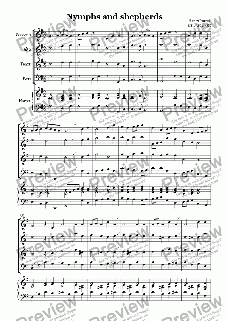 page one of Nymphs and Shepherds (Purcell)