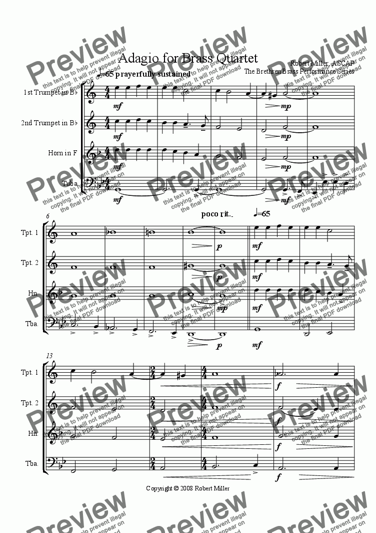 page one of Adagio for Brass