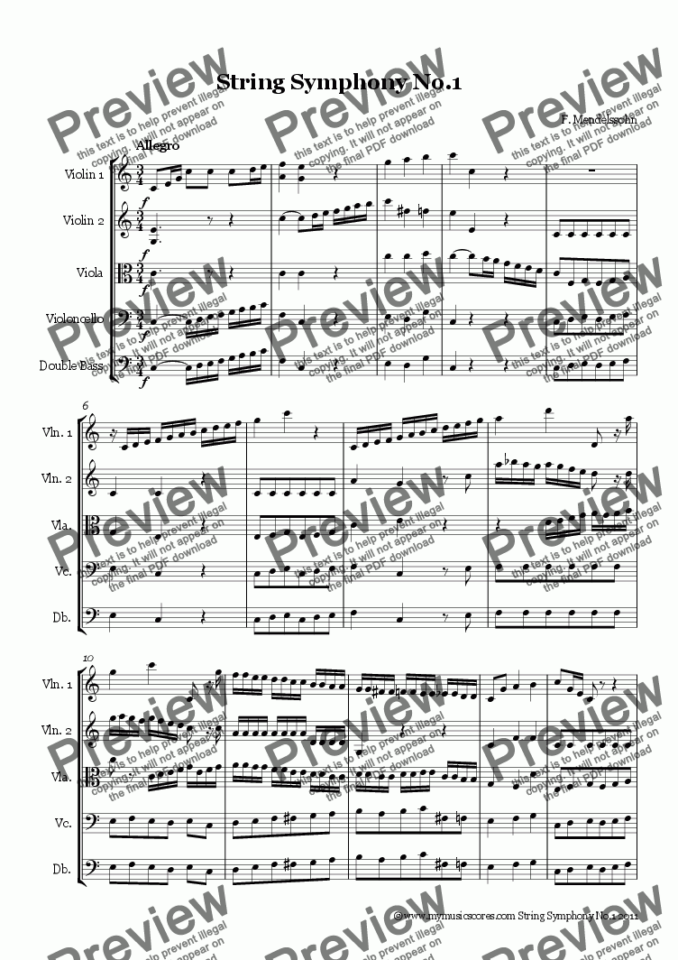 page one of Mendelssohn String Symphony No.1
