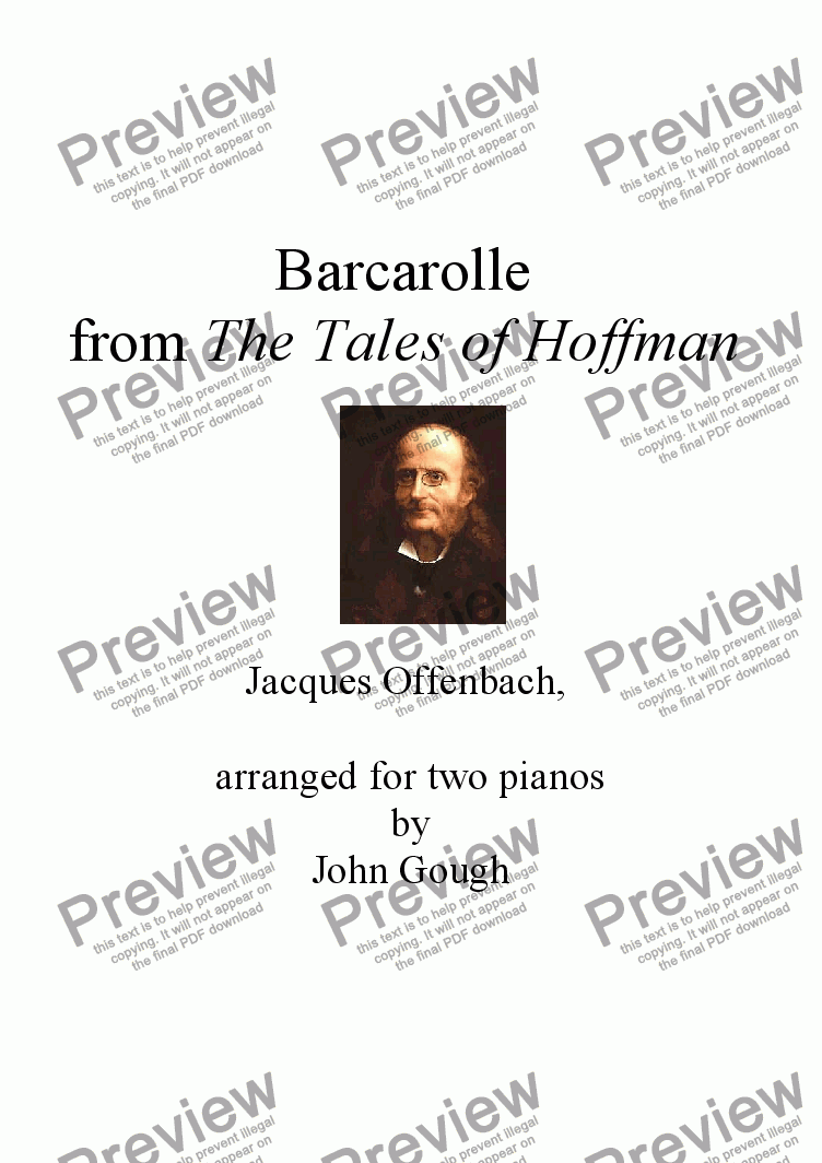 page one of Barcarolle from The Tales of Hoffman: arranged for two pianos