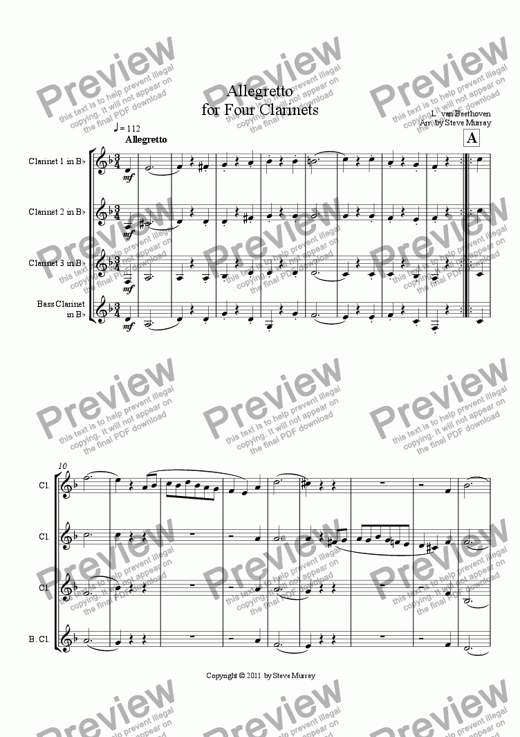 page one of Allegretto for Four Clarinets
