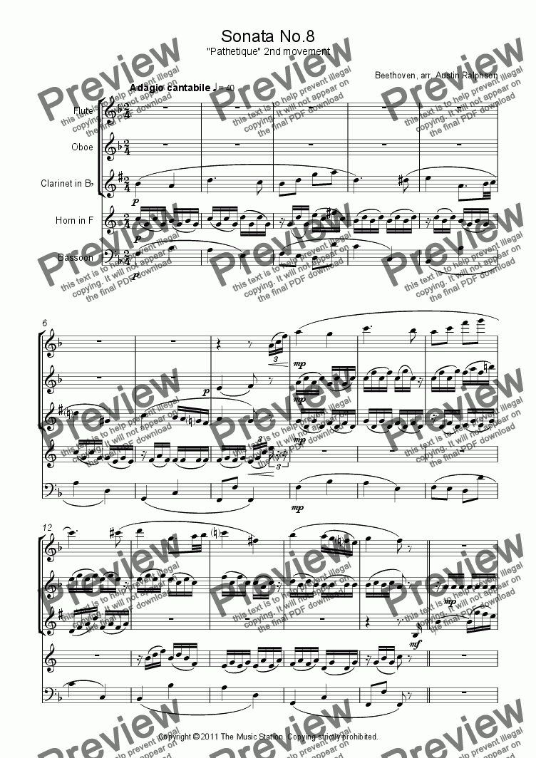 "page one of Sonata No.8 ""Pathetique"", 2nd movement - wind quintet"