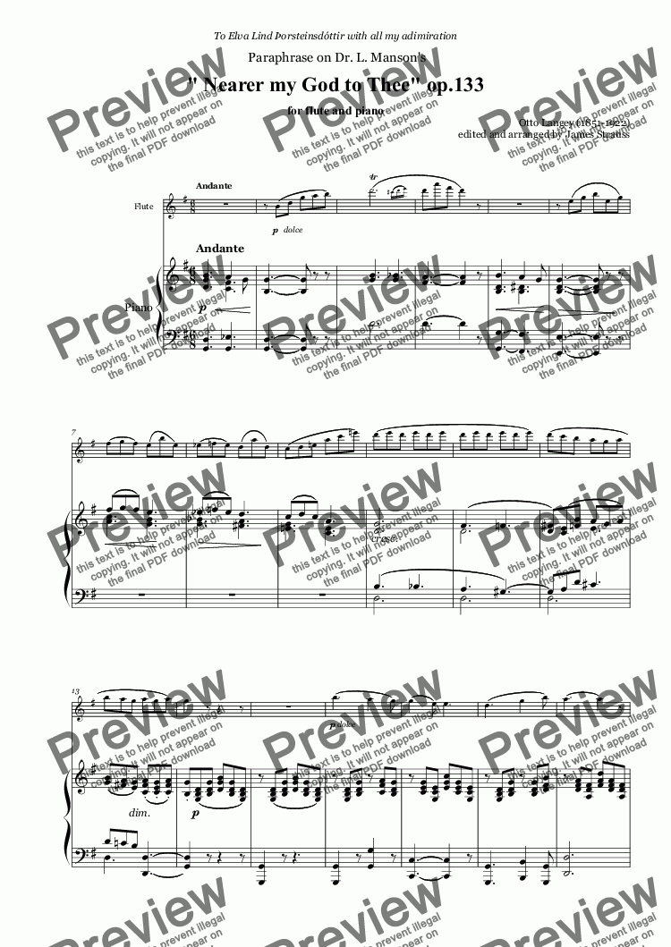 "page one of "" Nearer my God to Thee"" op.133 for flute and piano"