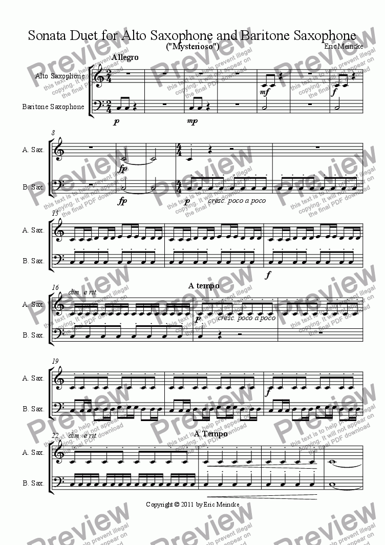 page one of Sonata Duet for Alto Saxophone and Baritone Saxophone