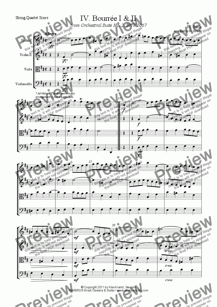 page one of Bourrée from Orchestral Suite No. 2, BWV 1067 for string quartet