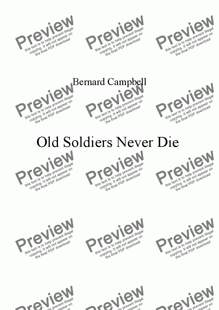 page one of Old Soldiers never Die.