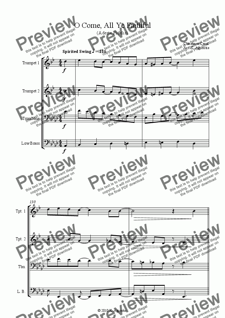 page one of O Come, All Ye Faithful (in 4/4) - for Brass Quartet