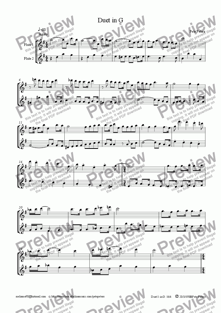 page one of Duet 1in G [recs]