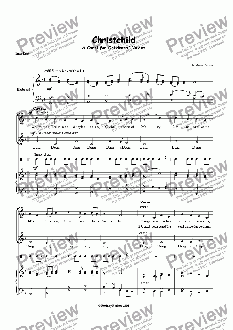 page one of 'Christchild' a Carol for Young Voices
