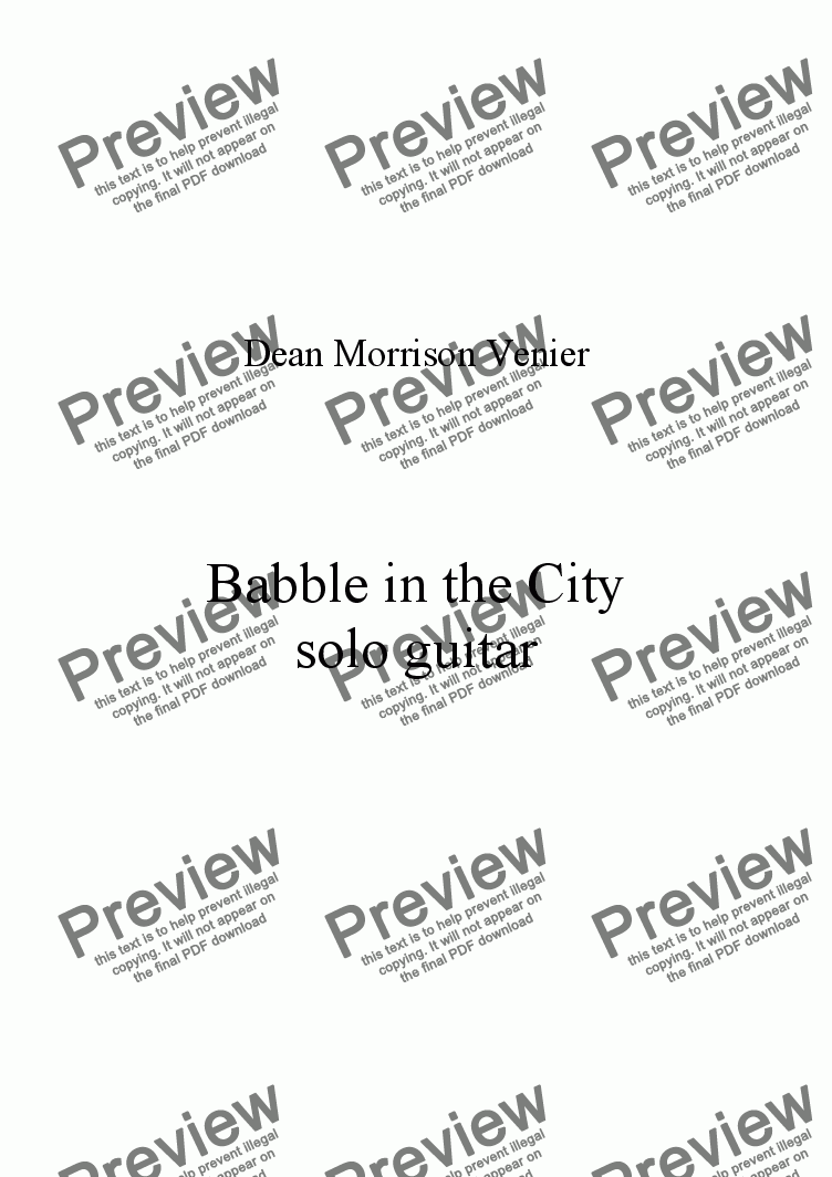 page one of Babble in the City in G Minor
