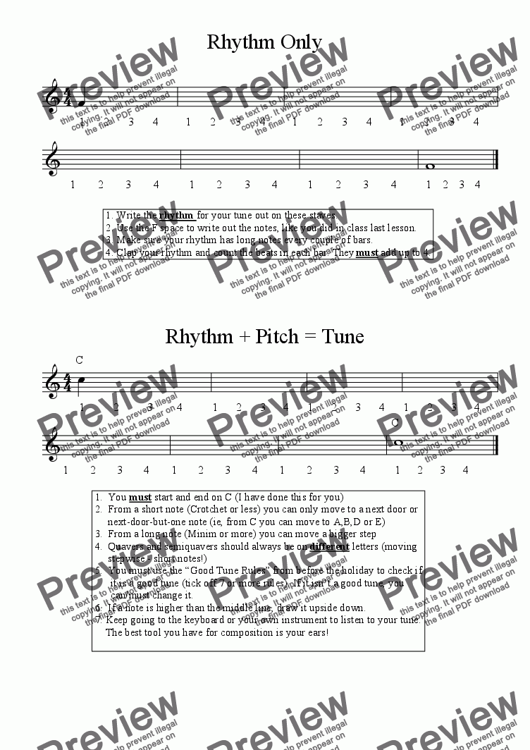 page one of Worksheet - 8 bar melody