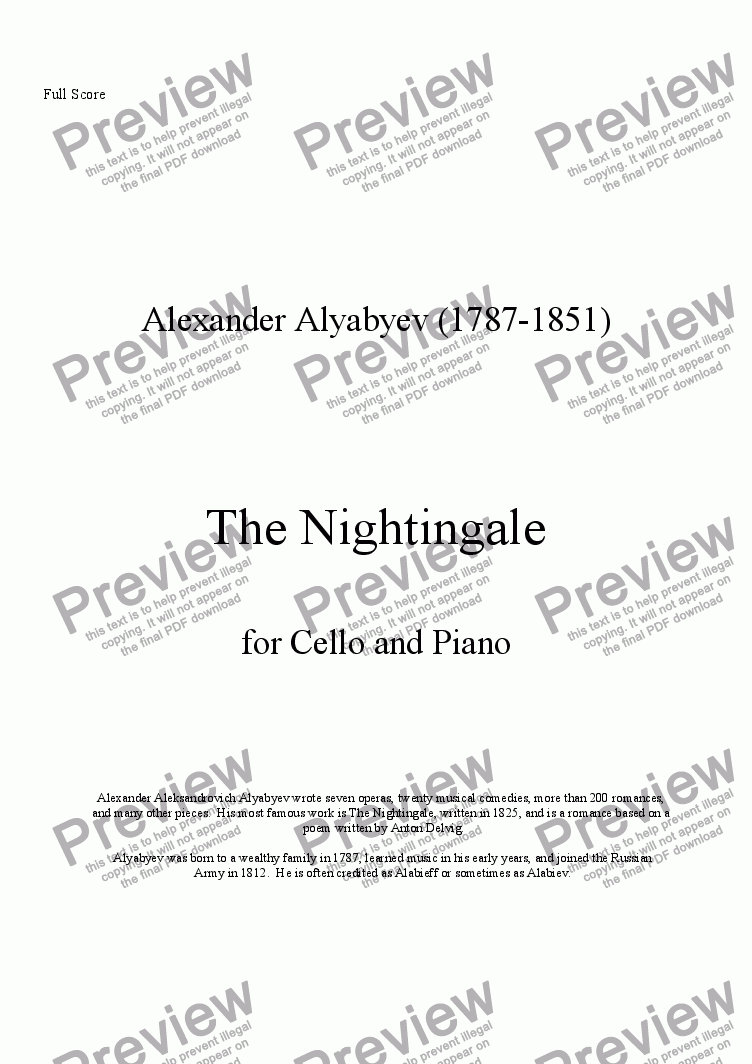 page one of The Nightingale (Alto Sax & Piano)
