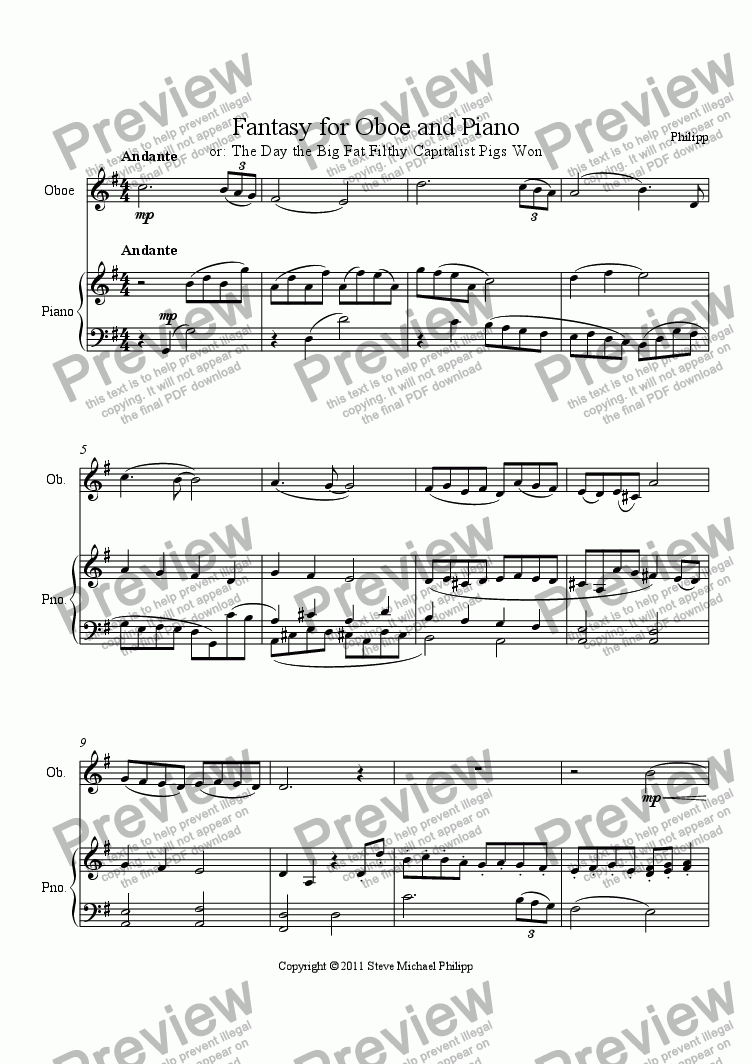 page one of Fantasy for Oboe and Piano