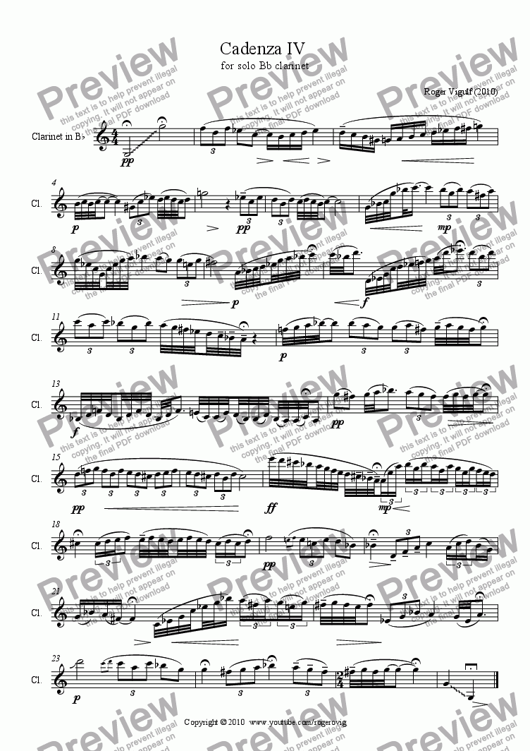 page one of Cadenza IV  for solo Bb clarinet