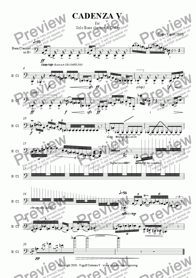 page one of CADENZA V  for  Solo Bass clarinet & Delay