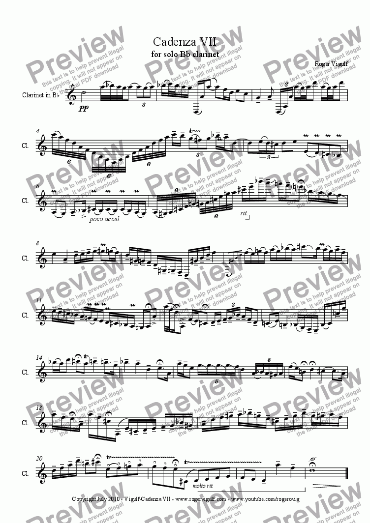 page one of Cadenza VII for solo Bb clarinet