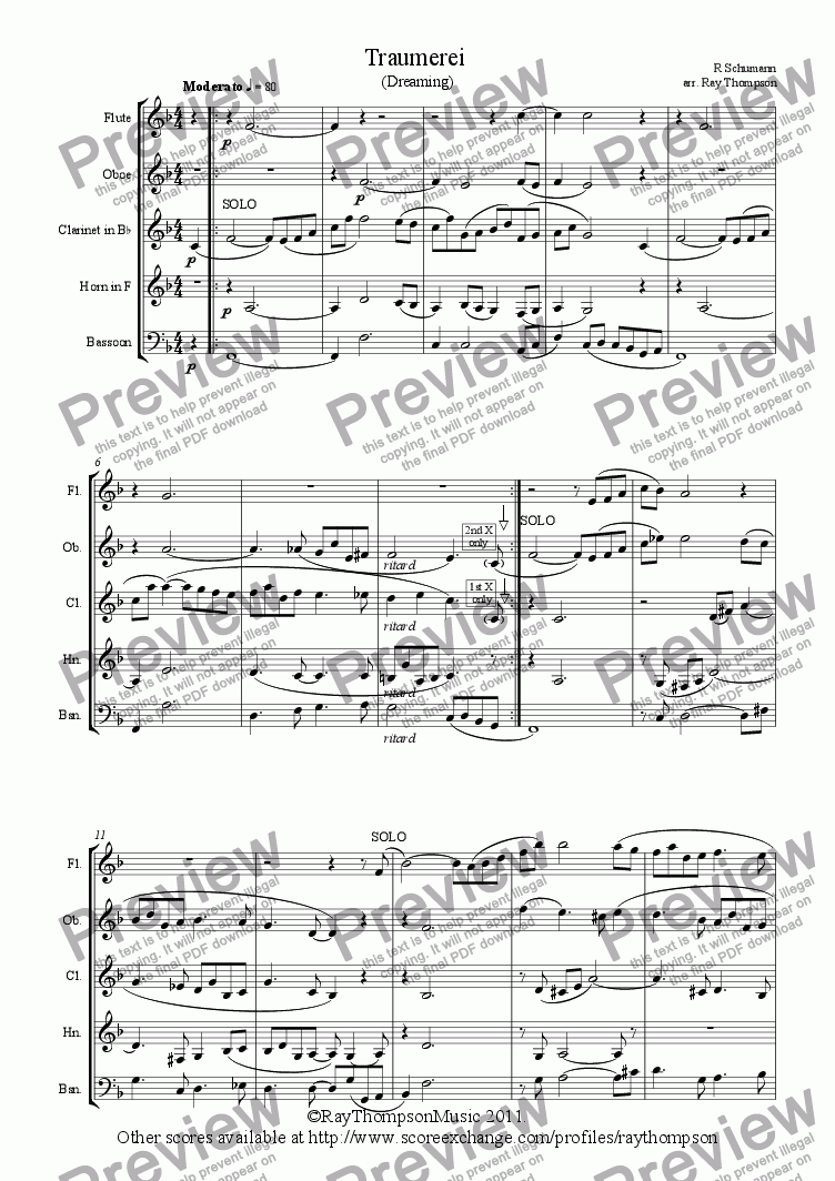 page one of Traumerei