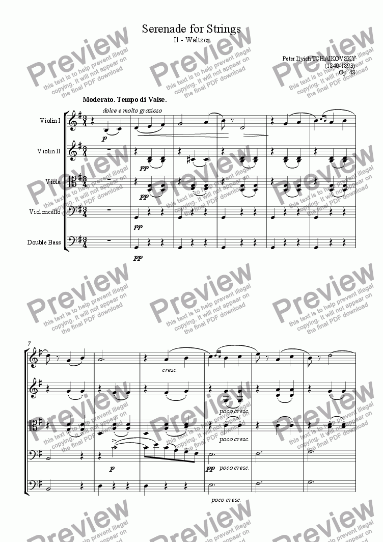 page one of Serenade for Strings II - Waltzer