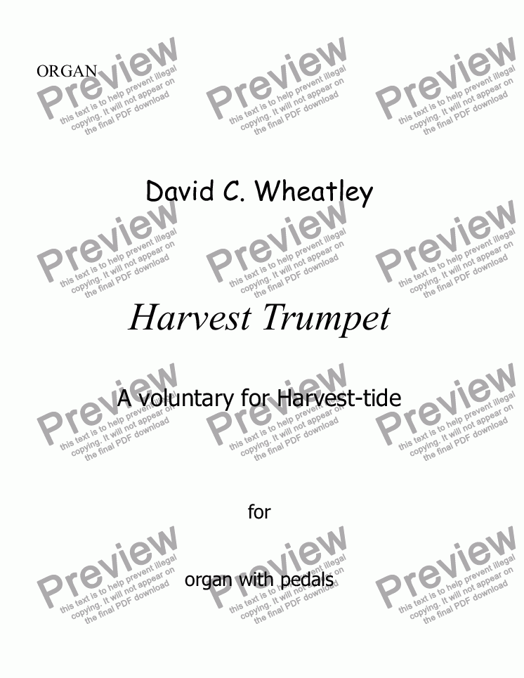 page one of Harvest Trumpet by David Wheatley for organ