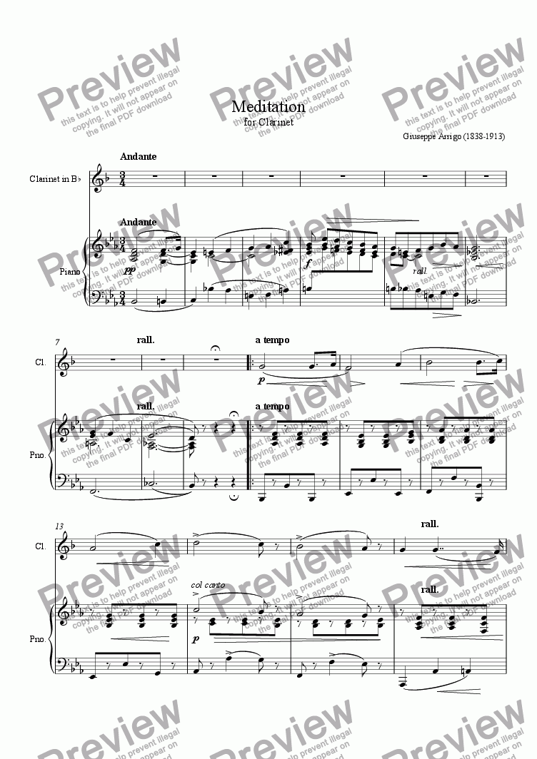 page one of Meditation for ClarinetASALTTEXT