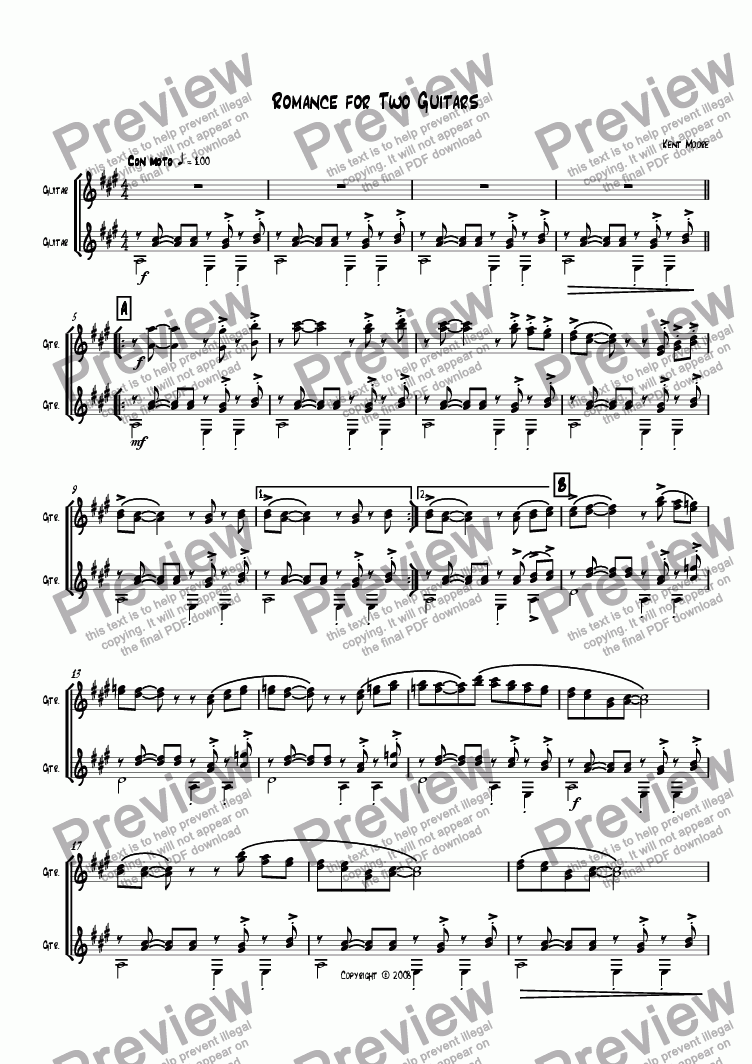 page one of Romance for Two Guitars