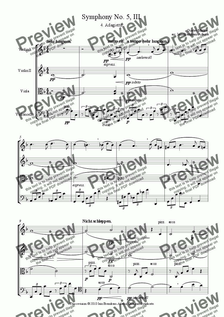 page one of Adagietto from Symphony No. 5 (Death in Venice)
