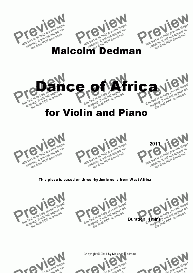 page one of Dance of Africa