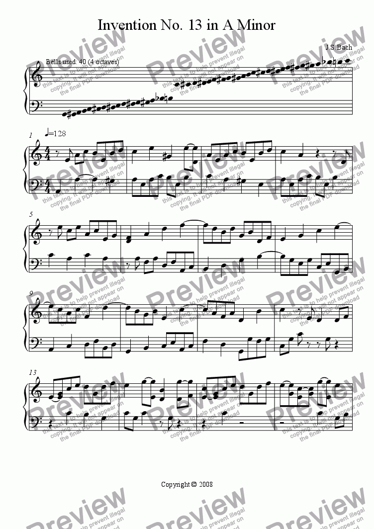 page one of Invention No. 13 in A Minor
