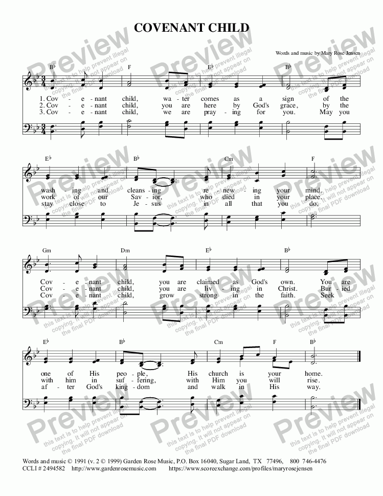 Covenant Child Hymn For Baptism Satb Download Sheet Music Pdf File