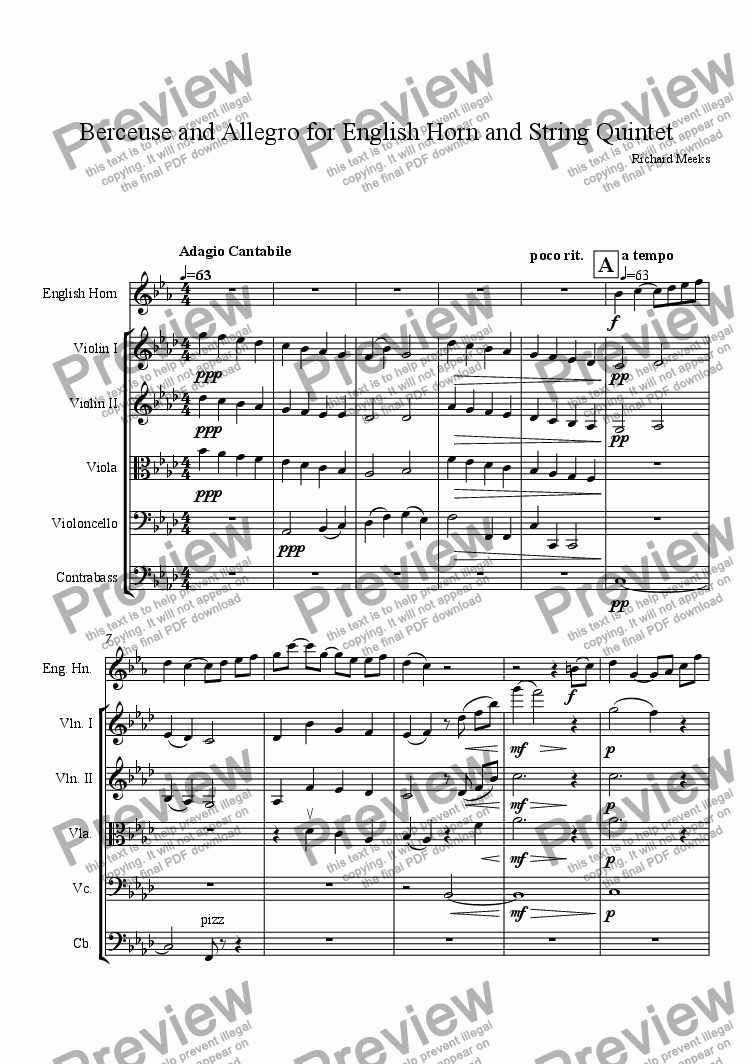 page one of Berceuse and Allegro for English Horn and String QuintetASALTTEXT