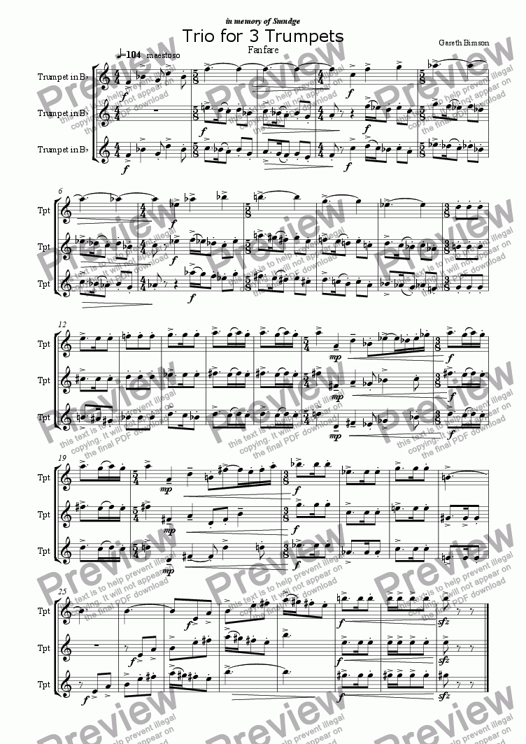 page one of Trio for 3 Trumpets   Fanfare