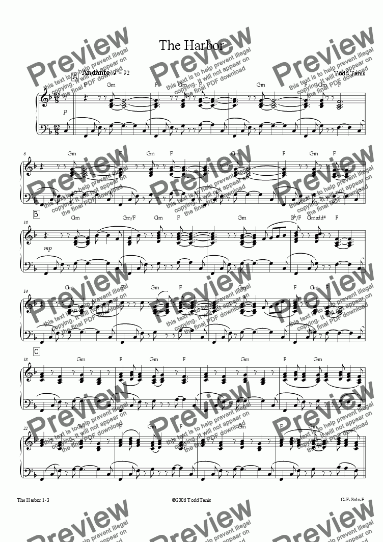 page one of Harbor, The [piano solo]