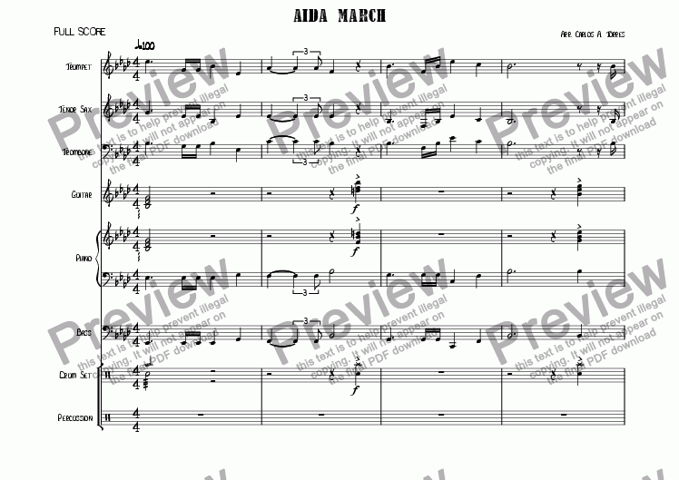 page one of Verdi's Aida march (Latin Version)
