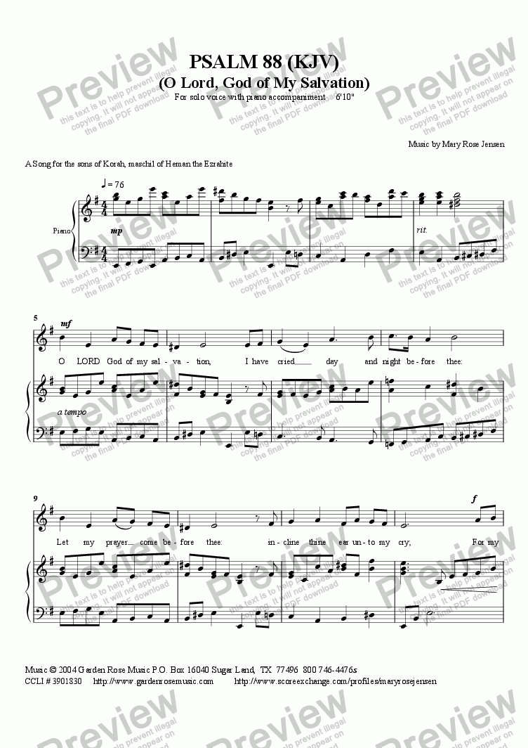 page one of Psalm 88 (KJV) Vocal Solo (Piano/vocal)