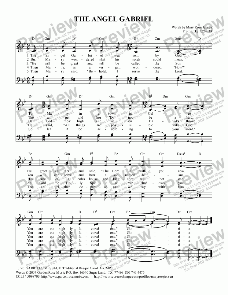 page one of The Angel Gabriel (GABRIEL'S MESSAGE) From Luke 1:26-38 (The Annunciation) Advent Hymn