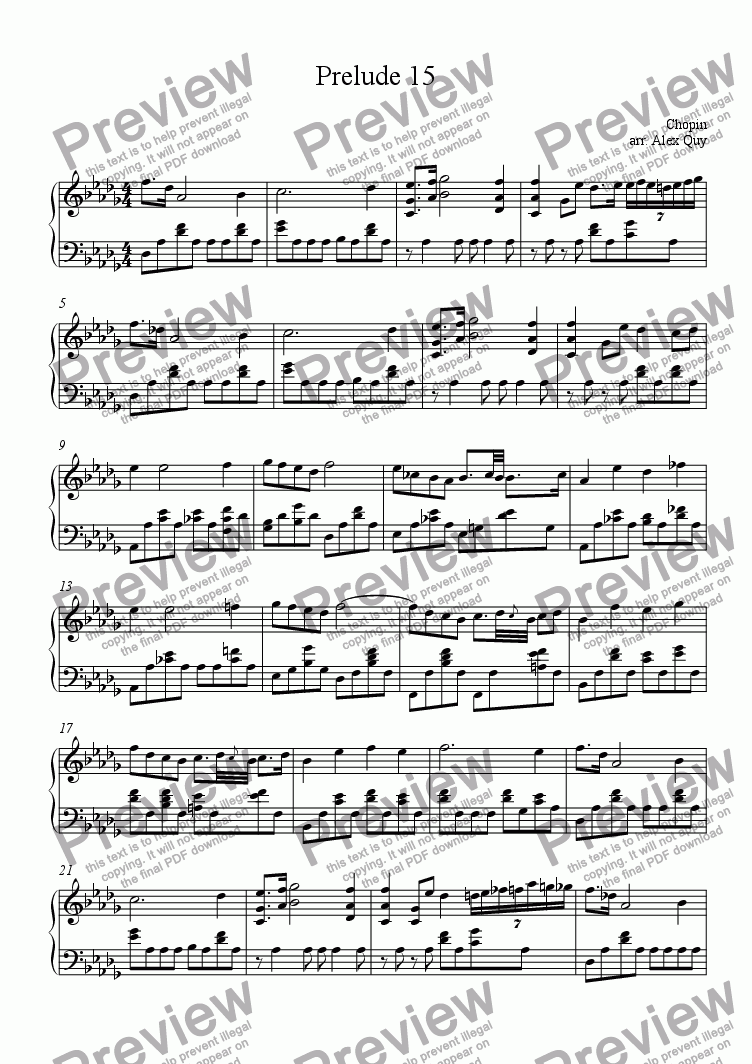 page one of Prelude 15 Chopin for Piano