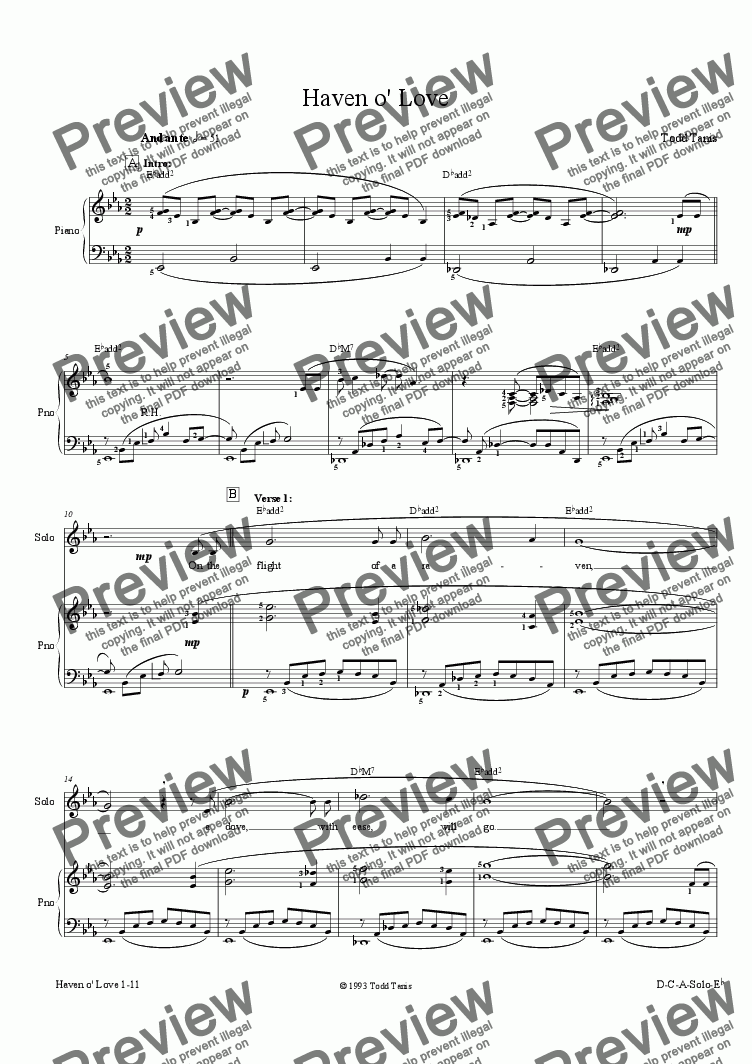 page one of Haven o' Love [piano-vocal]