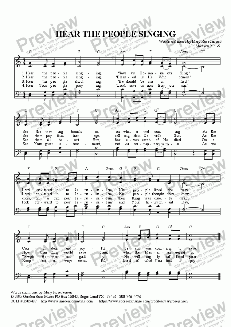 page one of Hear the People Singing (Palm Sunday Hymn)