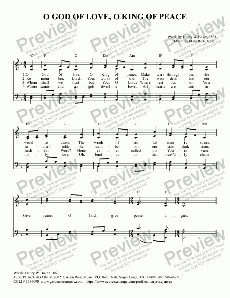 page one of O God of Love, O King of Peace (Prayer for Peace) A retuned hymn
