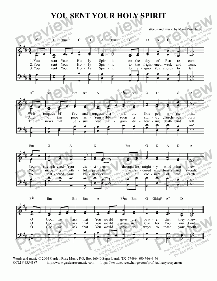 page one of You Sent Your Holy Spirit (Hymn for Pentecost)ASALTTEXT