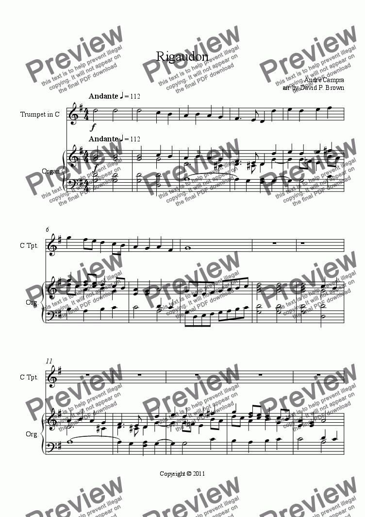 Rigaudon for Trumpet Solo for Solo Trumpet in C + piano by Andre Campra arr  by David P  Brown - Sheet Music PDF file to download