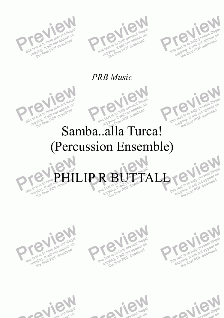 page one of Samba..alla Turca! (Percussion Ensemble)