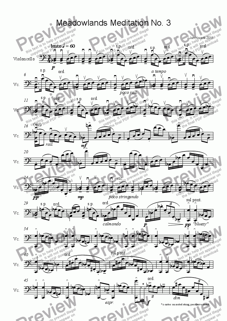 page one of Meadowlands Meditation No. 3
