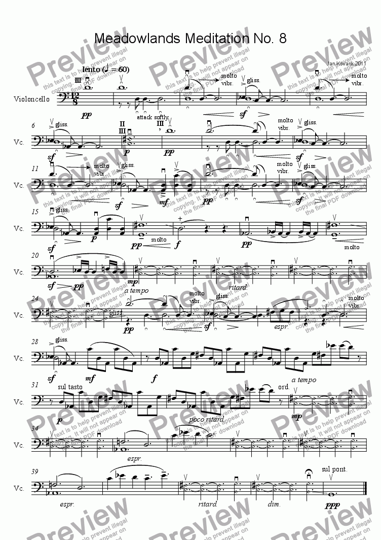 page one of Meadowlands Meditation No. 8